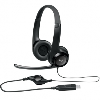 HEADSET LOGITECH H390 AUDIO DIGITAL COURO USB PTO